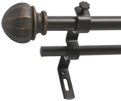 Montevilla 5/8-Inch Facet Ball Double Window Treatment Rod Set, 86 to 128-Inch, Vintage Bronze