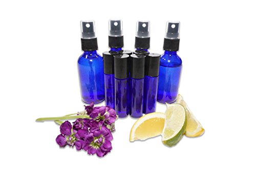 Four 2 Oz Cobalt Blue Glass Bottles with Black Atomizer and Six 10ml Blue Essential Oils Roller Bottles - Mix with Fractionated Coconut, Jojoba, Almond and Other Carrier Oil
