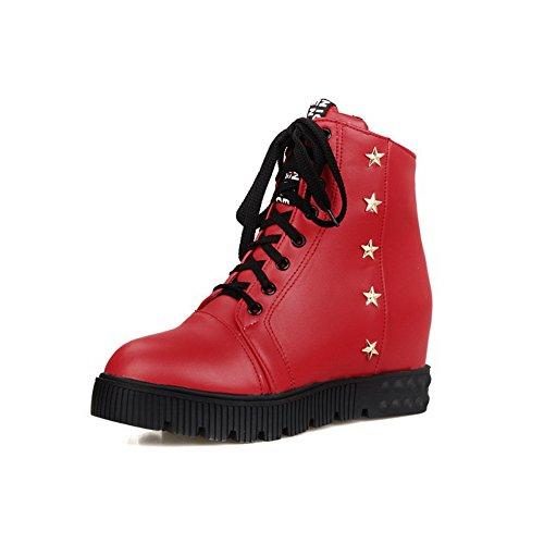 Tacón Mujeres Botas Rojo Medio Puntera Material Baja Suave Agoolar Sólido Redonda Caña S8aqqnBv