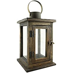 Stonebriar Rustic 12 Inch Wooden Candle Lantern, Vintage Wood & Metal Design, Use As Decoration for Birthday Parties, a Rustic Wedding Centerpiece, or Create a Relaxing Spa Setting, Medium