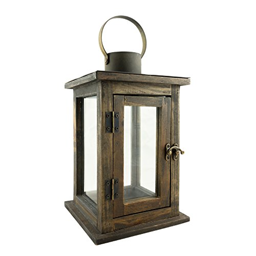 Stonebriar Rustic 12 Inch Wooden Candle Lantern, Vintage Wood & Metal Design, Use As Decoration for Birthday Parties, a Rustic Wedding Centerpiece, or Create a Relaxing Spa Setting, Medium -