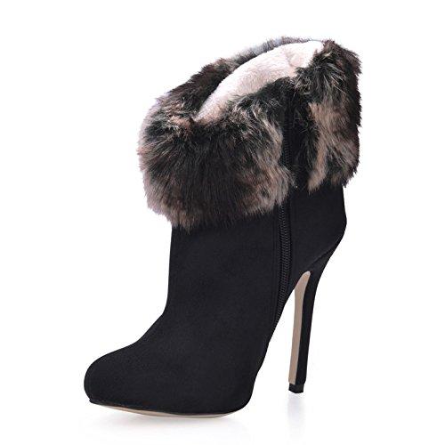 satin das high neue Kopf Winter und schwarz Damen Kurz runden heel Mädchen Schuhe startet Stiefel Maomao wEOgnnqP