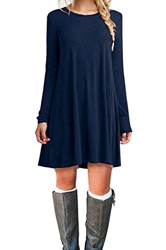 Bluetime Women's Winter Spring Long Sleeve Casual Loose Jersey T-Shirt Tunic Dress (S, Dark - Darks T-shirt Womens Dress