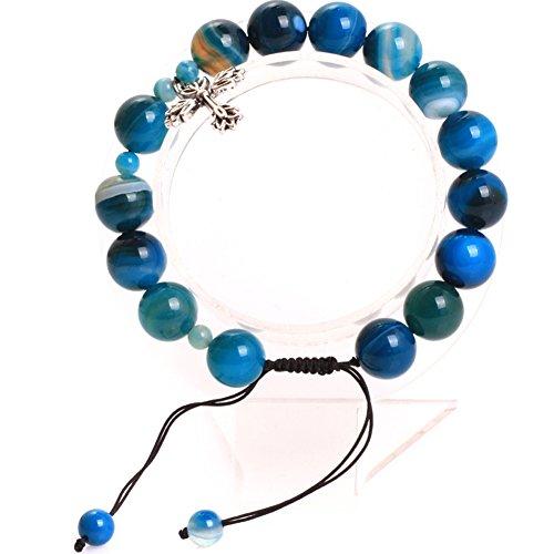 GEM-inside 10mm Blue Banded Agate Handmade Catholic Christian Prayer Rosary Beads Cross Bracelets Adjustable Jewelry