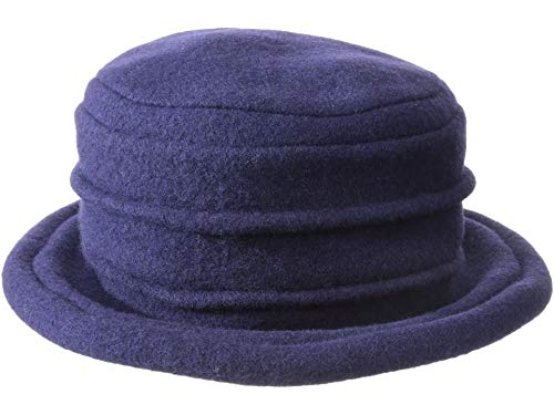 (Scala Women's Packable Boiled Wool Cloche, Navy, One Size)