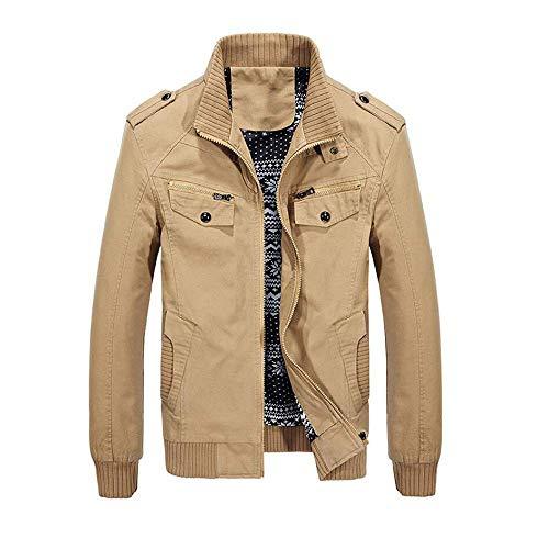 Zolulu Men's Casual Cotton Lightweight Military Jacket, Bomber Jacket, Windbreaker Jackets Khaki