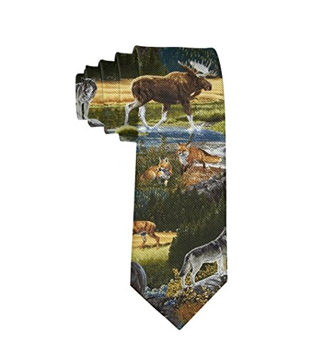 MrDecor Men's Skinny Tie Nature Bear Moose Fashion Causal Floral Printed Silk Necktie