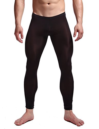 K-Men Men's Plus Size Mesh Long Johns Slim Sexy Black Sheer Legging Tights XXL (Low Rise Tights)
