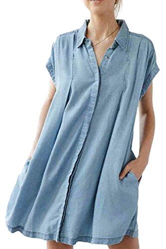 Solo Breasted Swing camisas Casual Vestido de la túnica de las mujeres