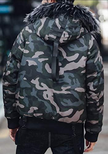Hood Puffer Long 3 Winter with Coat Camo Men's Warm Parka Padded Jacket Thick security 7qBfxnwU7