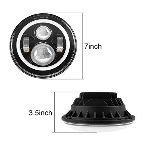 7'' LED Headlights Bulb RGB Halo Angel Eye with Bluetooth Remote for 1997~2017 Jeep Wrangler JK LJ CJ Sahara Sport Rubicon Hummer H1 H2 Headlamp Driving Light DRL by SUNPIE (Image #1)