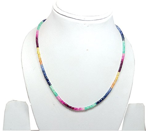 Natural ruby, emerald and sapphire faceted beads 18