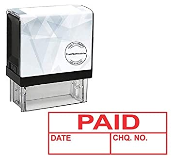 Stampexpression Paid Date Check Number Office Self Inking Rubber Stamp Red Ink A 5811