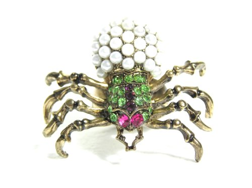Magic Metal Crystal Spider Ring Size 6.5 Faux Pearl Black Widow RH32 Gothic Vintage Cocktail Fashion Jewelry