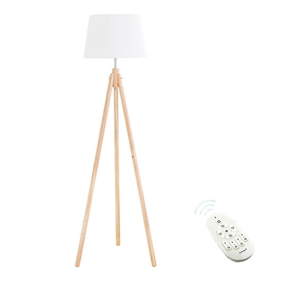現代の簡単なフロアランプの研究ベッドルームのベッドサイドの北ヨーロッパソリッドウッド日本式インテリジェントリモコン垂直ledライトE27 * 1木の色 (色 : #4) B07DGMTV9D 23481 #4 #4