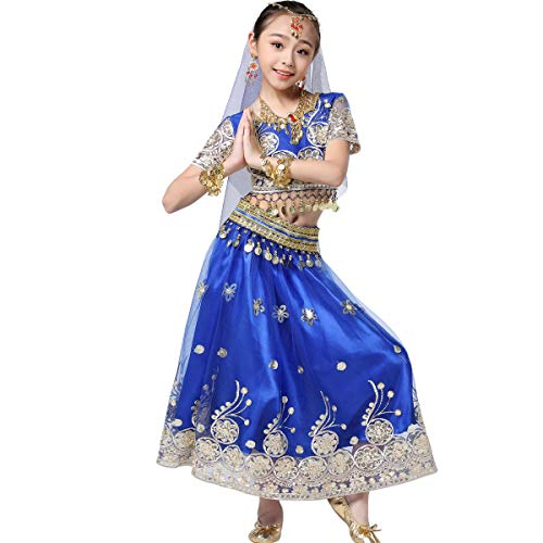 Bollywood Belly Dance Costume - Sari Noble Indian Dance Outfit Halloween Costumes with Head Veil for ()