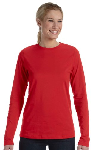 Bella + Canvas 4.2 oz. Missy Long-Sleeve Crew Neck Jersey T-Shirt (B6450) -RED -XL
