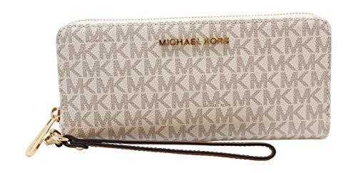 Michael Kors Jet Set Travel Monogram Zip Around Travel Wallet Wristlet (Vanilla 2018)