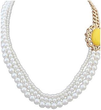 HFJ&YIE&H Mujer Collares con colgantes Collar con perlas Perla Perla Artificial Resina Legierung Estilo Simple Beige Amarillo Verde Rosa Joyas , one size