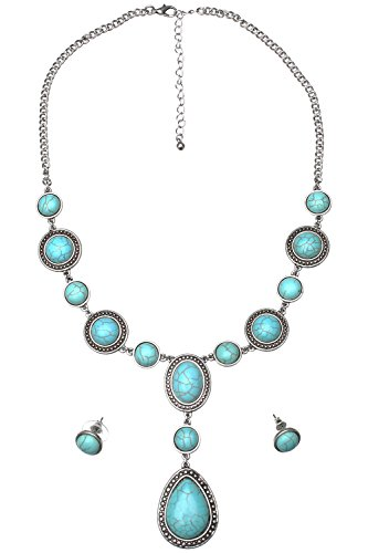 Turquoise Magnesite - Necklace and Earring Set - Teardrop, Turquoise Magnesite