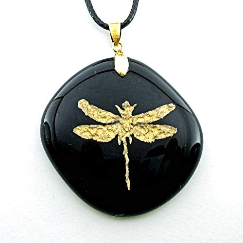 Kiln Faux Gold Dust Dragonfly Encased in Glass Black Glass Pendant Charm Necklace 18KGP Gold Bail