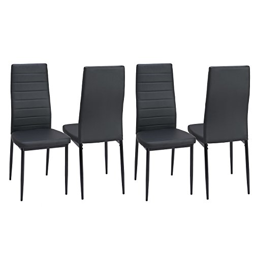 Dining Side Chairs Set of 4 PU Leather Elegant Design High Back Home Kitchen Furniture Black