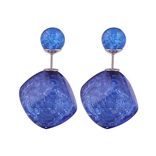 925 Sterling Silver Plated Double-sided Blue Ice Crack Square Charm With Sapphire Round Balls Stud Earrings (Sapphire Square Charm)