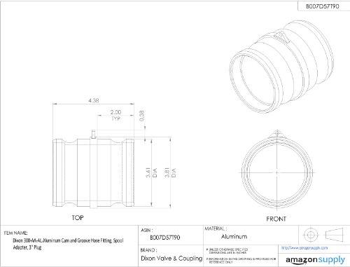 Dixon 300-AA-AL Aluminum Cam and Groove Hose Fitting, Spool Adapter, 3'' Plug by Dixon Valve & Coupling (Image #1)