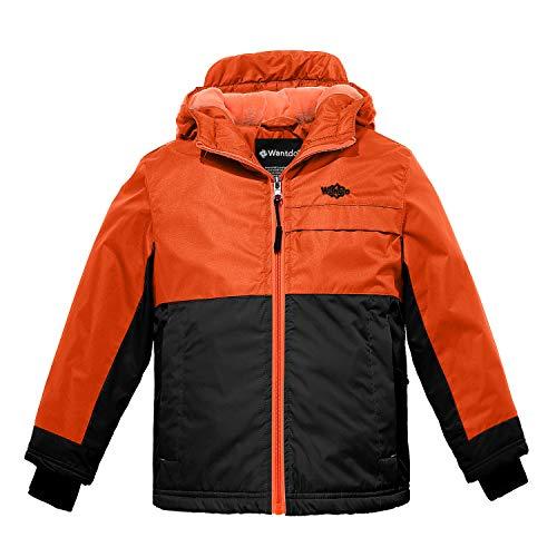 Wantdo Boy's Fleece Lined Jacket Thick Anorak Lily Orange Yellow Black 10/12
