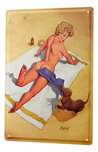 LEotiE SINCE 2004 Beach towel dachshund Tin Sign 20x30, used for sale  Delivered anywhere in USA