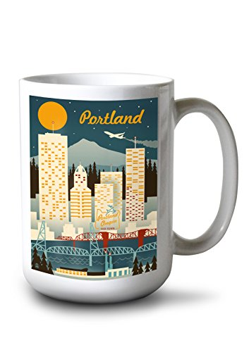 (Lantern Press Portland, Oregon - Retro Skyline (15oz White Ceramic Mug))
