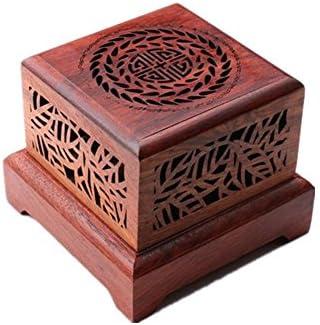 Artesanía Marrón de madera de palisandro caja para incienso hecho a mano Fine alta pies cuadrada para quemador de incienso quemador de incienso torre quemador de incienso Home utilidades y accesorios, 3: