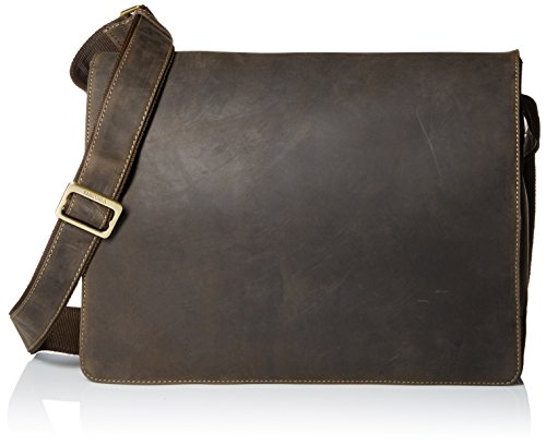 Visconti Visconti Leather Distressed Messenger Bag Harvard Collection, Brown, One Size by Visconti