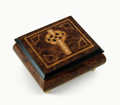 Elegant Handcrafted Italian Celtic Cross Inlaid Music Box - Over 400 Song Choices - TroutThe Swiss