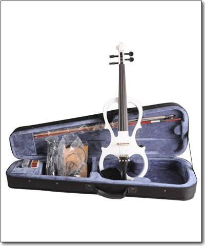Aileen 4/4 White Electric Violin VE008B + FOAMED CASE + BOW + HEADPHONE + ROSIN by Aileen