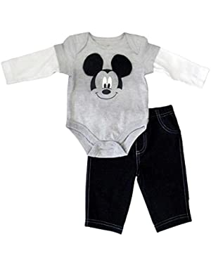 Disney Infant Boy 2 Piece Mickey Mouse Gray Long Sleeved Bodysuit Pants Set