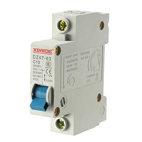 uxcell 1 Pole 10A 230/400V Low-voltage Miniature Circuit Breaker Din Rail Mount DZ47-63 C10
