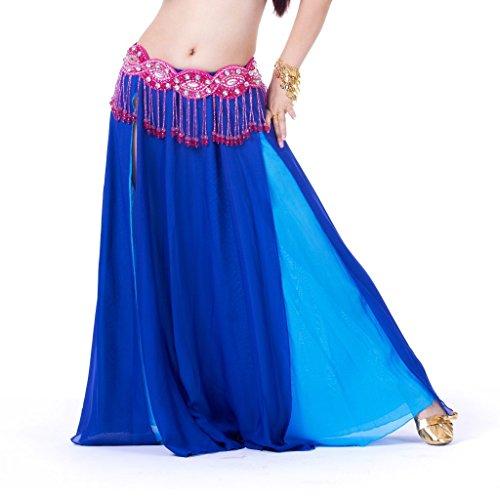 Swing Dance Costumes (Calcifer Sexy Chiffon Long Swing Belly Dance Skirt Costume Dancing Dress Dancewear For Women Professional Dancer (Royal Blue&Lake Blue))