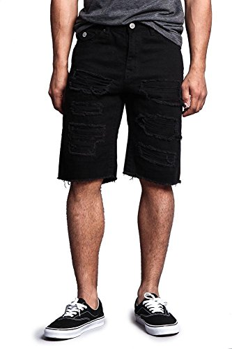 Colored Denim Short - Victorious Distressed Colored Denim Shorts DS431 - Black - 44 - I3F