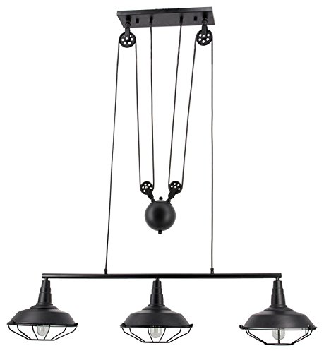 Hall of Lamp 3 Lights Black Billiard Light with Metal Shade Large Pulley Pendant Lighting Adjustable Ceiling Lights
