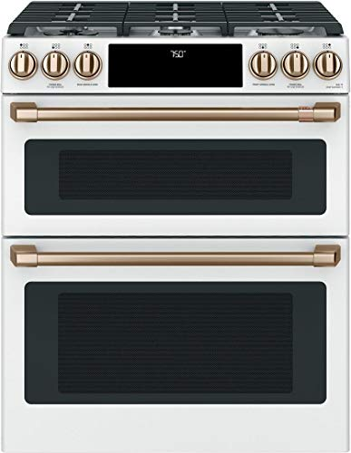 Cafe 30″ Matte White Slide-In Double Oven Gas Range with Convection