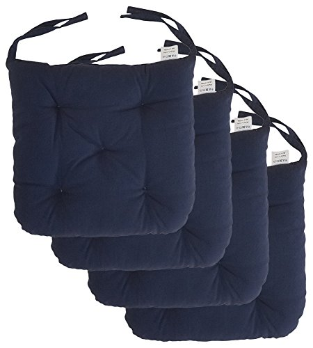 Seat Cushions Dining Chairs - Cottone 100% Cotton Chair Pads w/Ties (Set of 4)| 16