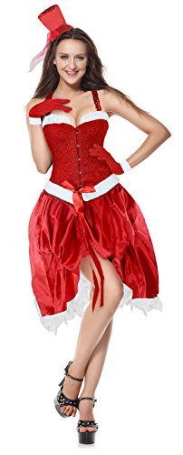 Cheap Sexy Christmas Costumes (Ecilu Women's Fever Santa Baby Christmas Costume Burlesque Party Fancy Dress Red X-Large)
