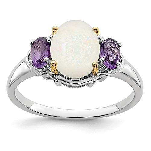 925 Sterling Silver 14k Opal Purple Amethyst Band Ring Size 6.00 Stone Gemstone Fine Jewelry Gifts For Women For Her