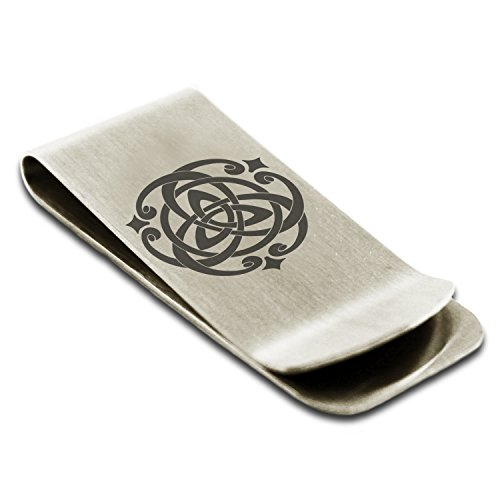 Stainless Steel Celtic Triquetra Heart Knot Symbol Money Clip Credit Card Holder (Celtic Money Clip)