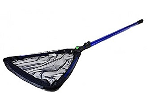 Telescopic Pole Skimmer Koi Pond or Water Garden Catching Net with Fine 2mm Course mesh, w/Fold-Over Collapsible Head