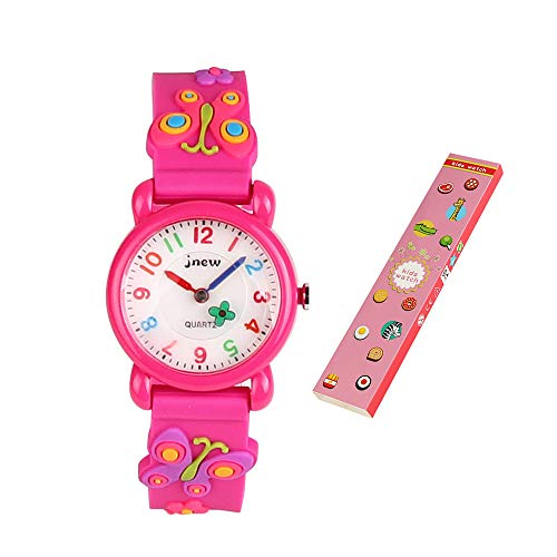 ELEOPTION Waterproof Kids Watches Children Analog Quartz Wristwatches 3D Cute Cartoon Design with Super Soft Silicone Band Shock Resistant for Boys Girls as Time Teacher (A- Butterfly Pink) by ELEOPTION