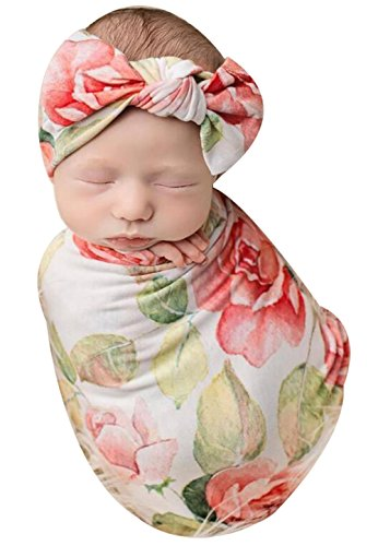 Newborn Baby Floral Print Sleepsack Nightgowns Coming Home Outfits with Headband size 0-3Months (Pink)