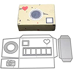 HIKO23 Cutting Die Heart Stitched Square Flower Love Nesting Metal Embossing Stencils for DIY Scrapbooking Album Decorative