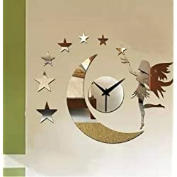 Alrens_DIY(TM)Silver Dancing Girls Moon Star Art Mordern Luxury Design DIY Removable Acrylic Silent Non-ticking Quartz Wall Clock 3D Crystal Mirror Surface Effective Wall Clock Wall Sticker Home Decor Art Living Room Bedroom Office Decoration